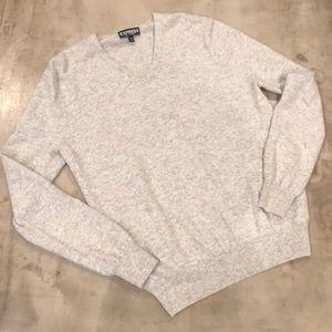 Men's cashmere sweater heather grey large v neck